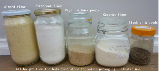 gf bread dry ingredients labelled